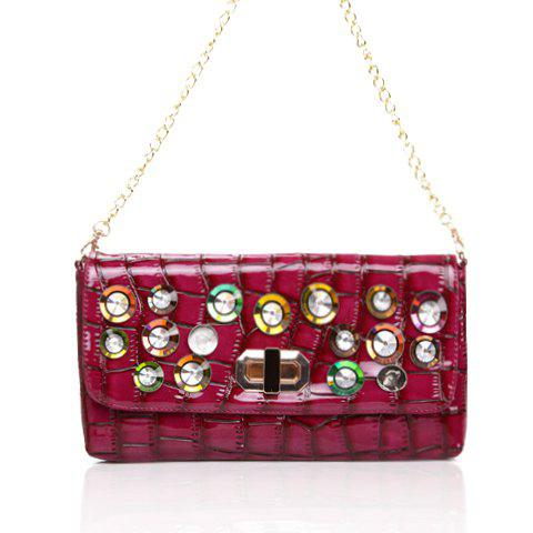 New Arrival Patent Leather and Metal Chain Rhinestone Design Shoulder Bag For Women