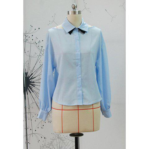 Preppy Style Polo Neck Shoulder Hollow Out Design Long Sleeve Slimming Women's Shirt - BLUE ONE SIZE