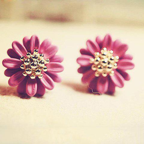Pair Of Sweet Style Daisy Shape Bead Embellished Women's Earrings