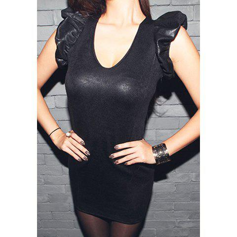 Glamour Women's Club Dress With Back Voile Splice Flounce Sleeve Slim Fit Design
