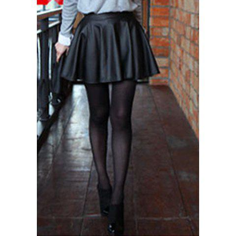 Modern Style Solid Color PU Leather High-Waist Women's Skirt - BLACK ONE SIZE