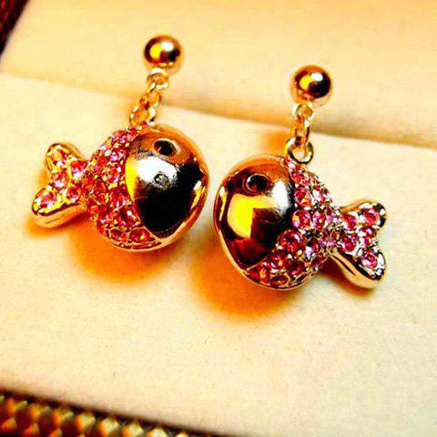 Pair of Chic Sweet Rhinestoned Fish Stud Earrings For Women - PINK
