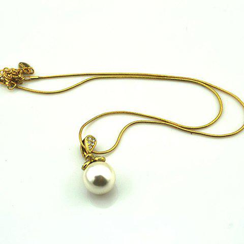 Chic Rhinestoned Copper Faux Pearl Necklace For Women - AS THE PICTURE