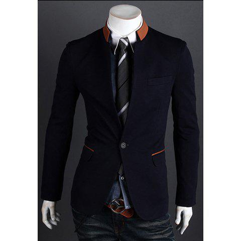 Spring New Arrival Stand Collar One-Button Color Block Casual Blazer - DEEP BLUE L