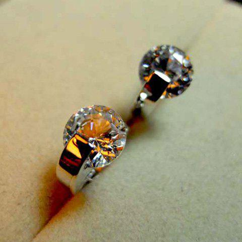 Pair of Crystal Embellished Women's Shining Ear Clips - SILVER
