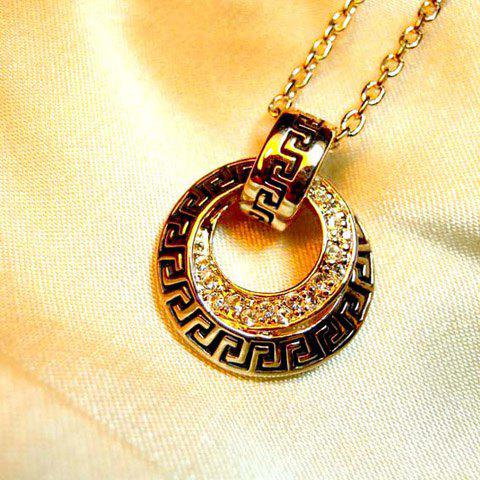 Shining Style Openwork Circle Shape Pendant Rhinestone Embellished Necklace For Women - AS THE PICTURE