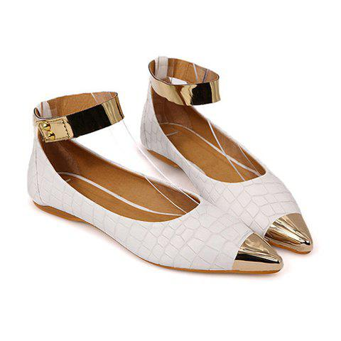 Stylish Style Casual PU Leather Metallic and Stone Veins Design  Spring Flat Shoes For Women - WHITE 40