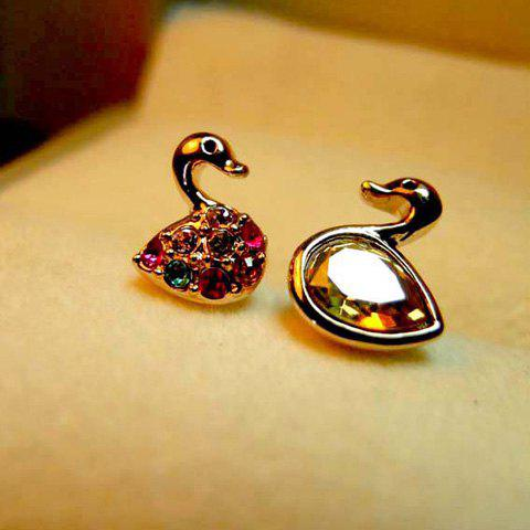 Pair Of Sweet Style Asymmetry Design Cygnet Shape Colorful Rhinestone Embellished Women's Earrings - AS THE PICTURE