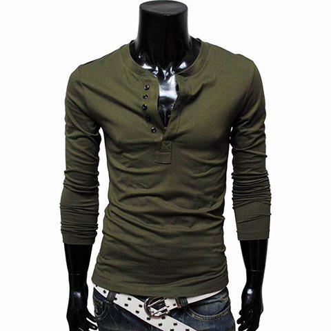 Round Collar Multi-Button Embellished Solid Color Polyester Men's Spring T-Shirt - ARMY GREEN M