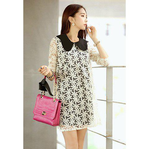 Sweet Style Lace Splicing Jacquard Chiffon Lapel Collar Long Sleeves Women's Dress - WHITE S
