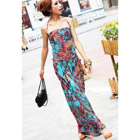 Bohemian Floral Print Halterneck Sleeveless Flounce Edge Cotton Blend Women's Maxi Dress - AS THE PICTURE ONE SIZE