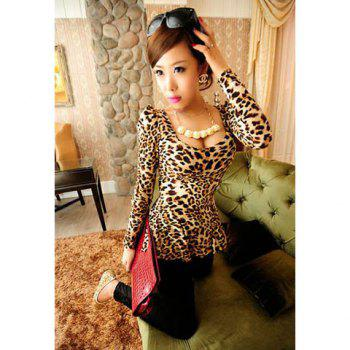 Scoop Neck High Elasticity Cotton Sophisticated Style Long Sleeves Women's T-Shirt - LEOPARD ONE SIZE