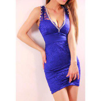 Solid Color Beam Waist Rhinestone Embellished Party Dress