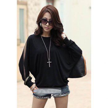 Casual Off Shoulder Solid Color Batwing T-Shirt For Women