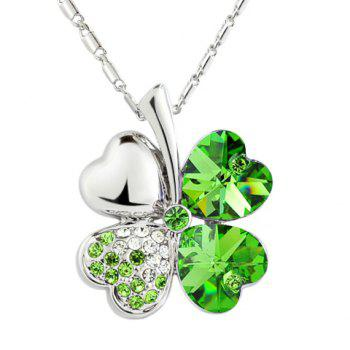 Rhinestone Decorated Clover Pendant Necklace - COLOR ASSORTED COLOR ASSORTED