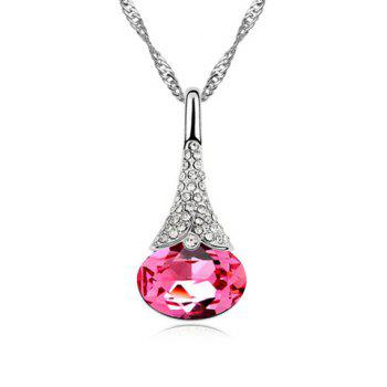 Rhinestoned Decorated Waterdrop Pendant Necklace - COLOR ASSORTED COLOR ASSORTED