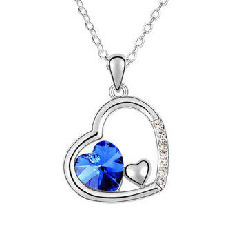 Rhinestoned Heart Decorated Pendant Necklace - COLOR ASSORTED COLOR ASSORTED