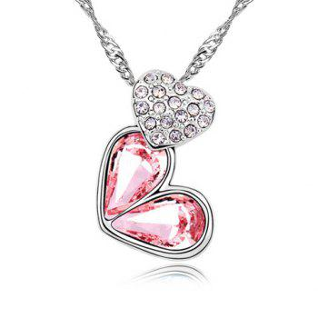 Rhinestoned Heart Decorated Pendant Necklace - PINK PINK