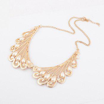 Openwork Wing Fake Pearl Necklace - AS THE PICTURE AS THE PICTURE