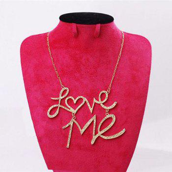 Fashion Rhinestoned Love-Me Pendant Necklace - COLOR ASSORTED COLOR ASSORTED