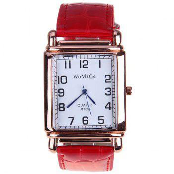 WoMaGe Quartz Watch with Numbers Indicate Steel Watchband for Women - Red -