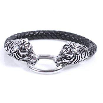 Tiger Head Shaped Oval Alloy Fastener Leather Band Bracelet