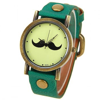 Quartz Watch with Dots Indicate Mustache Patterned Leather Watchband for Unisex