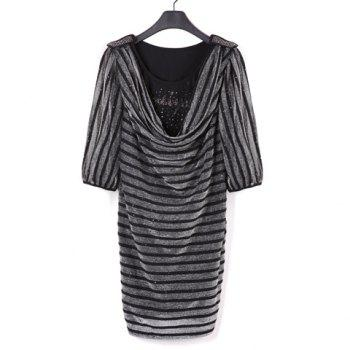 Fashion Stripes Cowl Neckline 1/2 Sleeve Bodycon Dress For Women - BLACK S