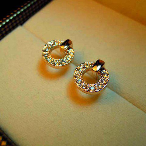 Pair Of Exquisite Ring Shape Rhinestone Embellished Earrings For Women - COLOR ASSORTED