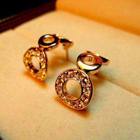 Pair Of Sweet Style Rings Connect Design Rhinestone Embellished Women's Earrings - AS THE PICTURE