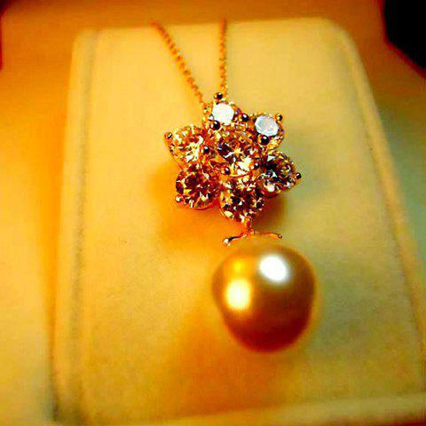 Pearl and Rhinestone Flower Shape Pendant Embellished Women's Exquisite Necklace - GOLD