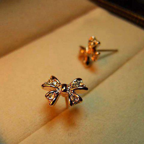 Pair of Bowknot Rhinestone Embellished Earrings - GOLD