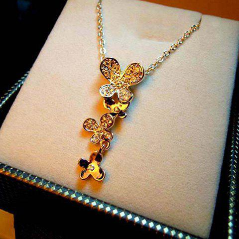 Rhinestone Butterfly Shape Pendant Embellished Women's Graceful Necklace
