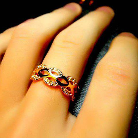 Elegant Rhinestoned Wave Shape Women's Finger Ring - AS THE PICTURE ONE SIZE