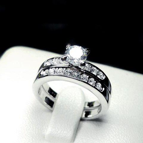 Romantic Chic Rhinestone Embellished Love Ring For Women - SILVER ONE SIZE