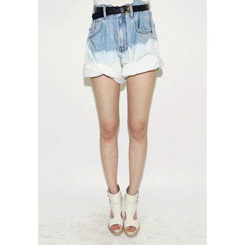 Fashionable Style High-Waist Solid Color Women's Denim Shorts