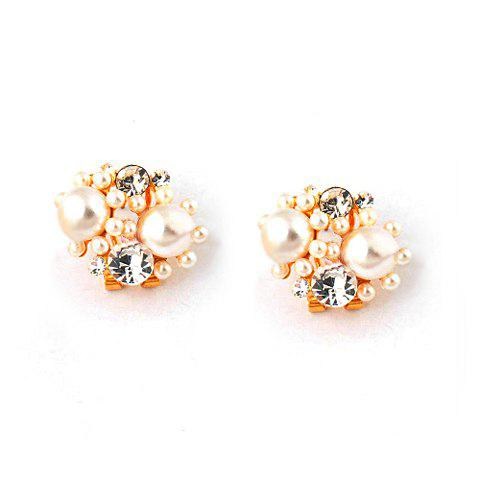 Pair of Graceful Rhinestone Embellished Flower Shape Faux Pearl Earrings For Women - CHAMPAGNE