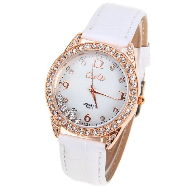 CaiQi Quartz Watch with Numbers and Diamonds Dots Indicate Leather Watchband for Women (White) - WHITE