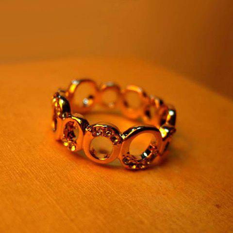 Sweet Rhinestoned Circle Embellished Women's Ring - AS THE PICTURE ONE SIZE