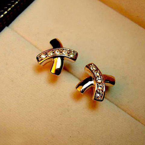 Pair of Chic Rhinestoned Cross Design Women's Stud Earrings
