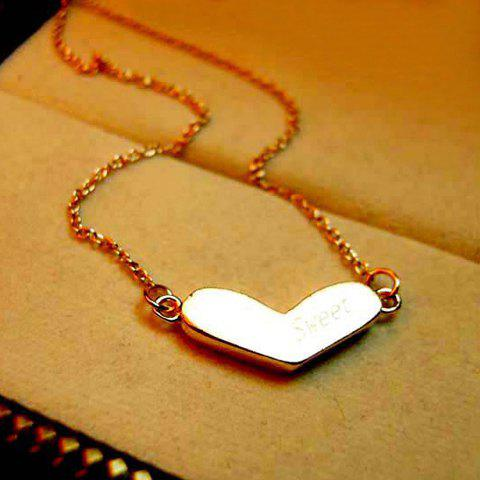 Graceful Style Heart Shape Pendant Embellished Women's Necklace
