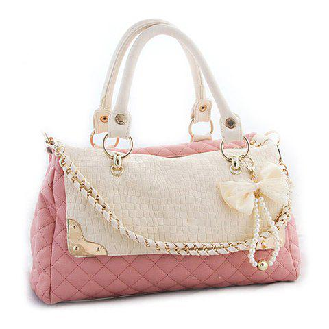 2013 New Arrival PU Leather and Bow Faux Pearls Design Tote For Women - PINK