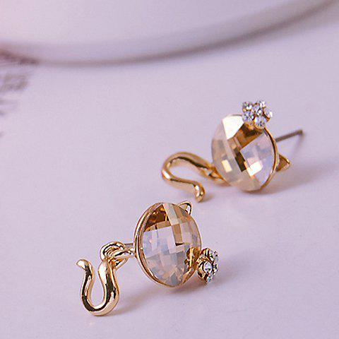 Pair of Cute Kitten Shape Rhinestone Embellished Women's Earrings - COLOR ASSORTED
