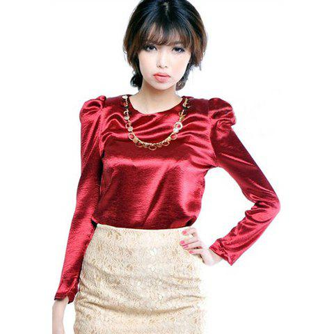 Elegant Solid Color Metal Chain Embellished Puff Sleeve Satin Women's Spring Shirt - WINE RED ONE SIZE