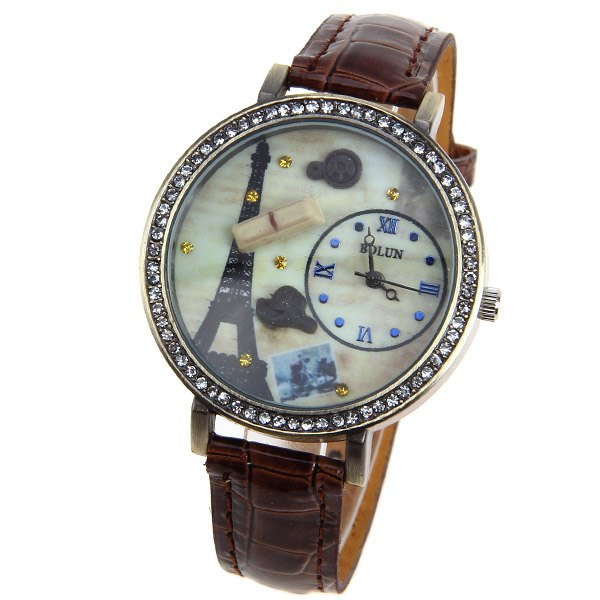 Bolun Quartz Watch with Numbers and Dots Indicate Leather Watchband for Women (Brown) - BROWN