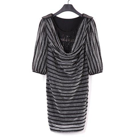 Fashion Stripes Cowl Neckline 1/2 Sleeve Bodycon Dress For Women - BLACK M