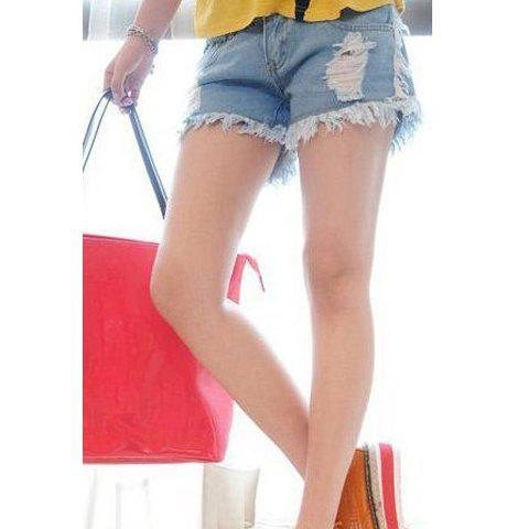 Slim Fit Ripped Fringed Women's Denim Shorts - BLUE 25