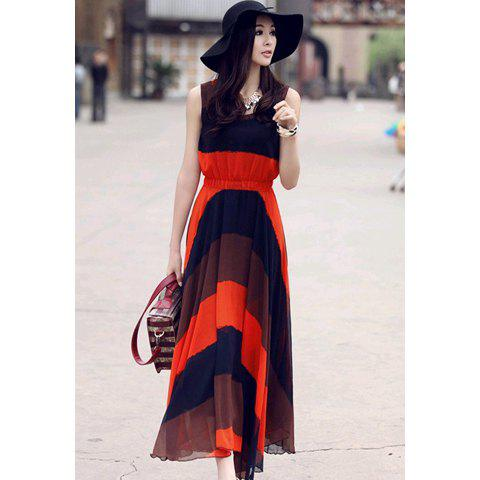 Western Style Women's Chiffon  Ankle-Length Dress With Color Block Broad Stripe Print Elastic Waist Design