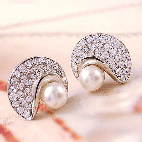 Pair of Brilliant Faux Pearl Rhinestoned  Moon Shape Women's Earrings - COLOR ASSORTED