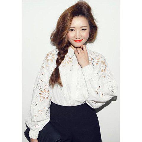 Retro Style Polo Collar Long Sleeves Solid Color Jacquard Women's Blouse - WHITE ONE SIZE